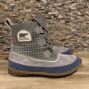 Sorel Gray Blue Suede Chukka Duck Ankle Boots